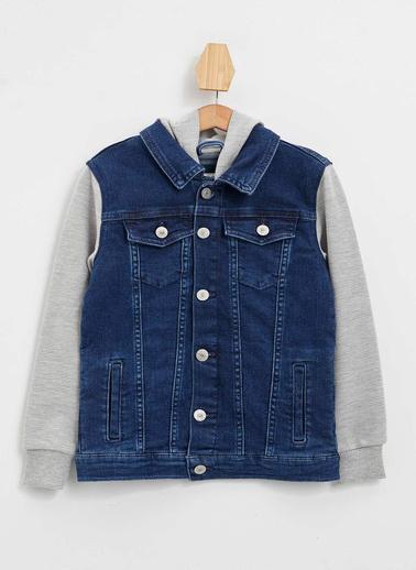 DeFacto Kapüşonu ve Kolları Örme Jean Ceket Mavi